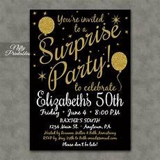 Free Surprise Birthday Party Invitations Surprise Party Invitations Printable Black Amp Gold Surprise