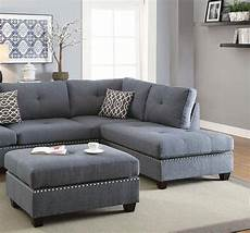 blue fabric sectional sofa set f6975 poundex modern