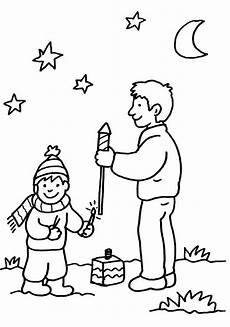Kostenlose Malvorlagen Silvester Ausmalbild Silvester Vater Und Sohn Beim Feuerwerk