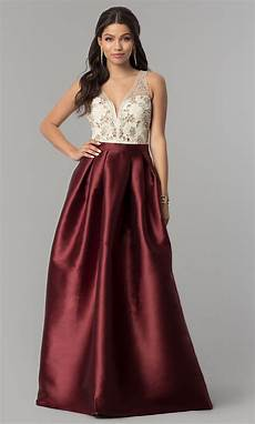 satin embroidered bodice prom dress promgirl