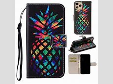 Colorful Pineapple PU Leather Wallet Phone Case Cover for