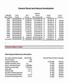 Amortization Of Bond Premiums Amortization Schedule Template 8 Free Word Excel