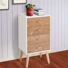 homcom nordic style 4 drawers bedside cabinet wooden table
