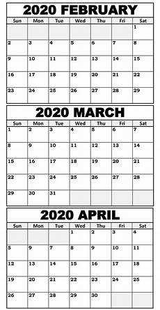 3 Month Calendar 2020 Blank February To April 2020 Calendar Magic Calendar