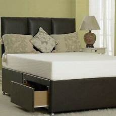memory leather divan bed with mattress headboard 3ft
