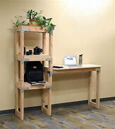 diy standing desk with shelving unit project sheet diy