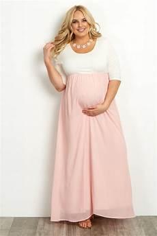 Pink Blush Maternity Size Chart Light Pink Chiffon Colorblock Plus Size Maxi Dress Plus