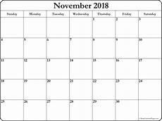 November Calendar Printable November 2018 Blank Calendar Collection