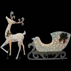 Lighted Santa Sleigh And Reindeer Outdoor Reindeer Lighted Yard Displays Christmas Wikii