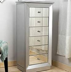 mirrored jewelry armoire large standing 6 drawer silver