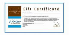 Charity Gift Certificates Auction Item Gift Certificate Template Free Voucher