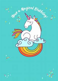 Birthday Invi Colourful Unicorn Birthday Card Greetings Island