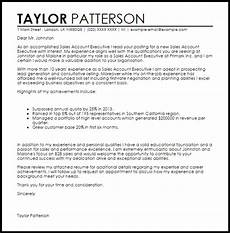Executive Position Cover Letters Sales Account Executive Cover Letter Sample Cover Letter
