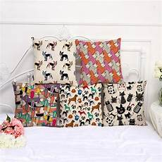 animal cotton linen cushion cover cat pattern for