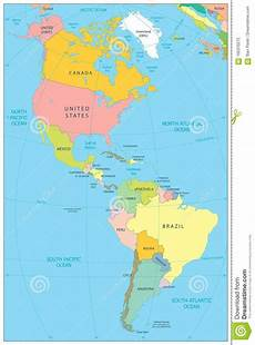 World Map Of North And South America North And South America Political Map Stock Vector