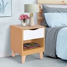 homcom nordic style bedside table stand storage