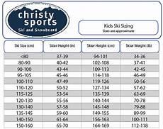 Girls Ski Size Chart Ski Junior Sizing Size Chart Sports