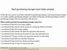 Purchasing Manager Cover Letter Top 5 Purchasing Manager Cover Letter Samples