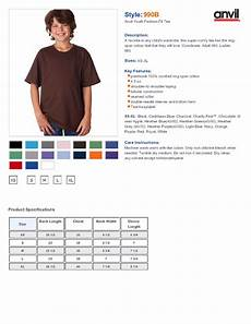 Anvil T Shirts Size Chart Anvil 990b Youth Ringspun Fashion Fit T Shirt 3 89 T Shirts