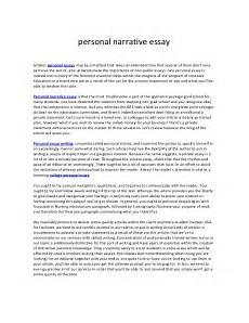 Narrative Essay Example About Life Narrative Essay About A Story Of Your Life A Story Of Myself