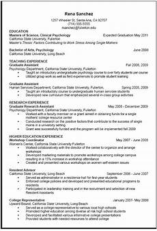A Cv Example Curriculum Vitae Sample Career Center Csuf