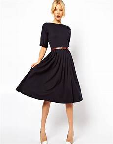 lyst asos midi dress with skirt and belt in blue