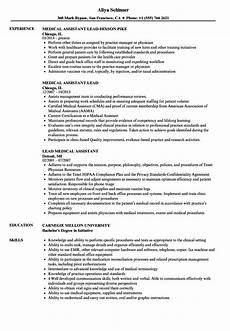 Medical Assistant Job Description For Resume Lead Medical Assistant Resume Samples Velvet Jobs