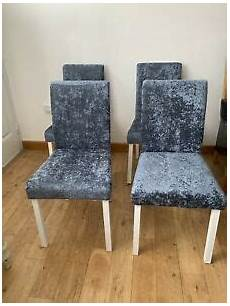 set of 4 silver grey crushed velvet dining chairs ebay