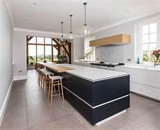 Contemporary Blue Open Plan White Modern Kitchen Bath Bespoke