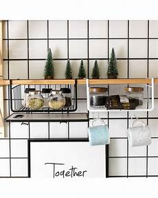 cupboard hanging shelf storage iron mesh basket