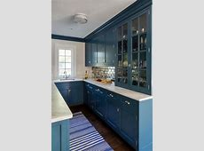 Mirrored Subway Tiles with Blue Wet Bar Cabinets   Transitional   Kitchen