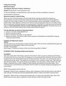 Rhetorical Analysis Essay Sample Rhetorical Analysis Packet
