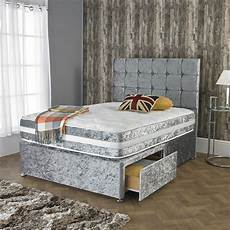 crushed velvet divan bed with open memory foam