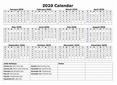 Printable 12 Month Calendar On One Page 2020 One Page Calendar Printable Calendar 2020