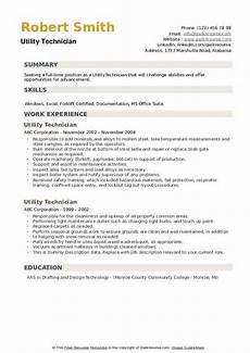 Utility Resume Utility Technician Resume Samples Qwikresume
