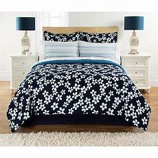 mainstays floral navy bed in a bag bedding walmart