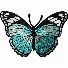 turquoise green butterfly embroidered iron sew on patch