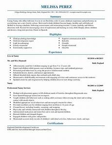 Resume Nanny Sample Best Nanny Resume Samples 2016 Resume Samples 2018