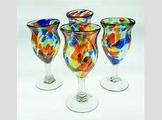 Wine Glasses hand blown 10 oz confetti swirl fancy 4 made