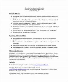 Purchase Agent Resume 10 Purchasing Agent Job Description Templates In Pdf