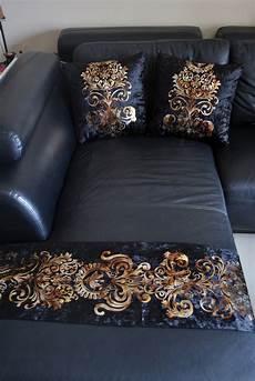 luxury shiny black gold damask velvet deco throw pillow