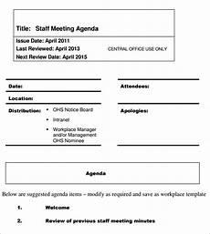 staff meeting agenda templates free 4 staff meeting agenda samples in pdf