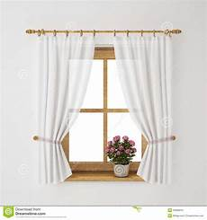Curtain Frame Designs Vintage Wooden Window Frame With Curtain And Flowerpot