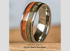 Tungsten Carbide Ring with Crushed Opal & Hawaiian Koa