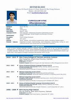 Cv Or Resume Sample Cv Resume Sample For Fresh Graduate Of Office Administration