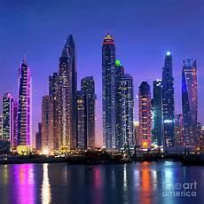 Dubai Night Lights Dubai Marina Skyline At Night Photograph By Delphimages