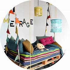 colorful swing bed for uses upcycled pallets for the