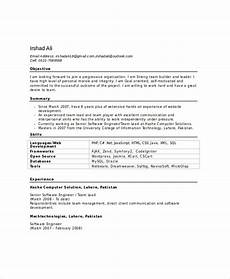 Resume Format Experienced Software Engineer Software Engineer Resume Template 6 Free Word Pdf