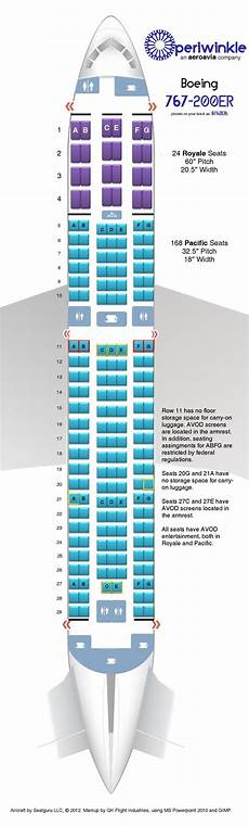 Boeing 767 400 Seating Chart Periwinkle Boeing 767 200er Aircraft Seating Chart