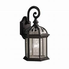 Kichler Outdoor Wall Light Kichler Barrie 15 5 In H Black Outdoor Wall Light At Lowes Com